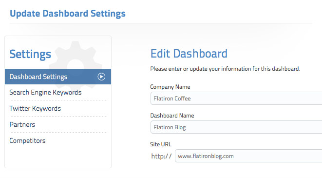 Update Dashboard Settings
